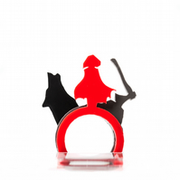 Acrylic Red Riding Hood Ring Set