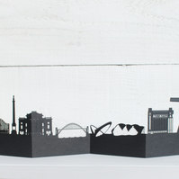 Newcastle 3D Cityscape, Silhouette, Skyline Card