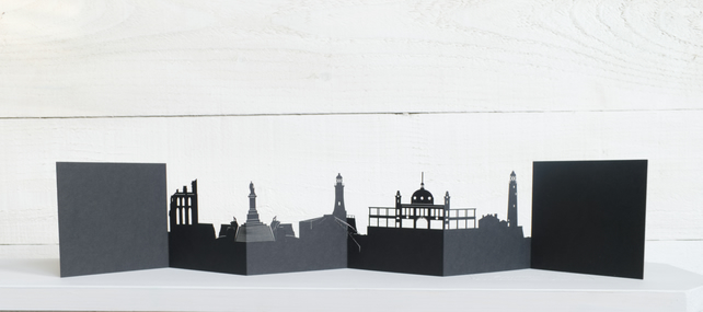 Tynemouth and Whitley Bay 3D Cityscape, Silhouette, Skyline Card