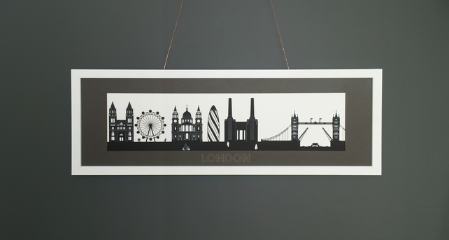 Large London Lasercut Silhouette Print with Mount