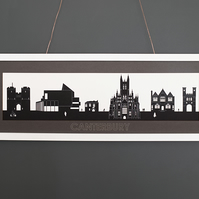 Large Canterbury Lasercut Silhouette Print with Mount