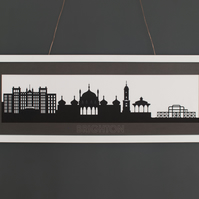 Large Brighton Lasercut Silhouette Print with Mount