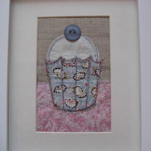 Handmade Embroidered Cupcake Picture