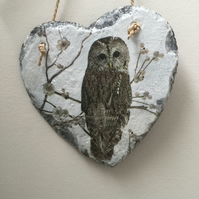 Owl Wildlife Slate Heart Gift