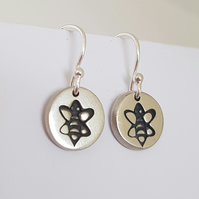 Sterling Silver Bee Dangle Earrings Nature Inspired