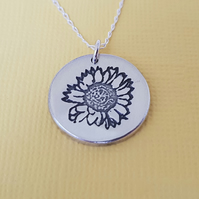 Sterling Silver Sunflower Pendant - Nature Inspired Jewellery