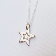 Sterling Silver Stamped Star Pendant