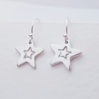 Sterling Silver Stamped Star Dangle Earrings