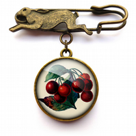 Vintage Cherries Hare Pin Brooch (ER02)