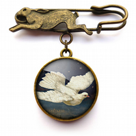 Vintage Dove Hare Pin Brooch (ER09)