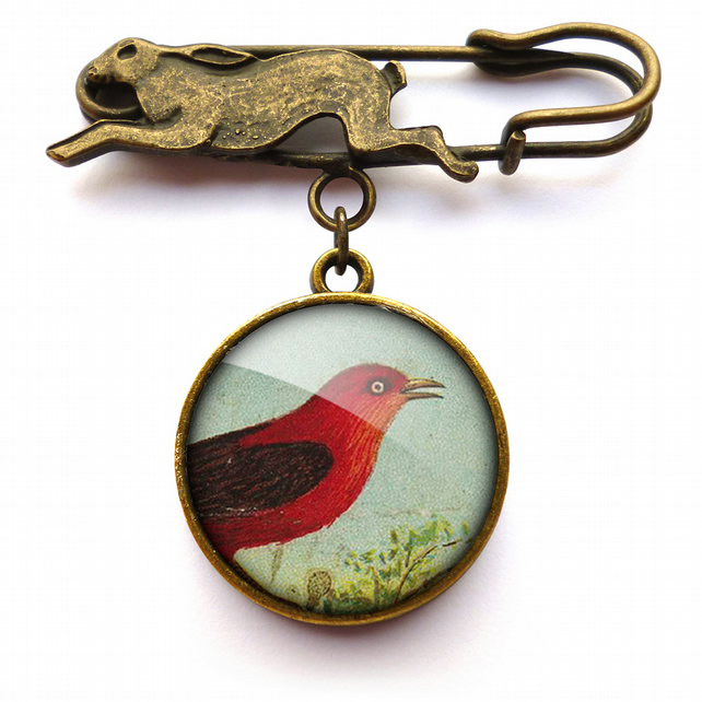 Red Bird Hare Pin Brooch (TB06)