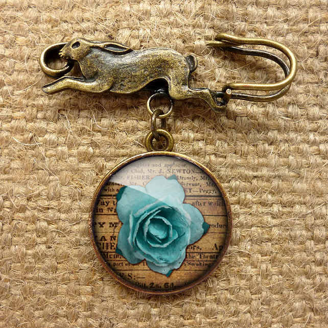 Blue Rose Hare Pin Brooch (RR02)