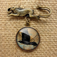 Raven In Flight Hare Pin Brooch (RR03)