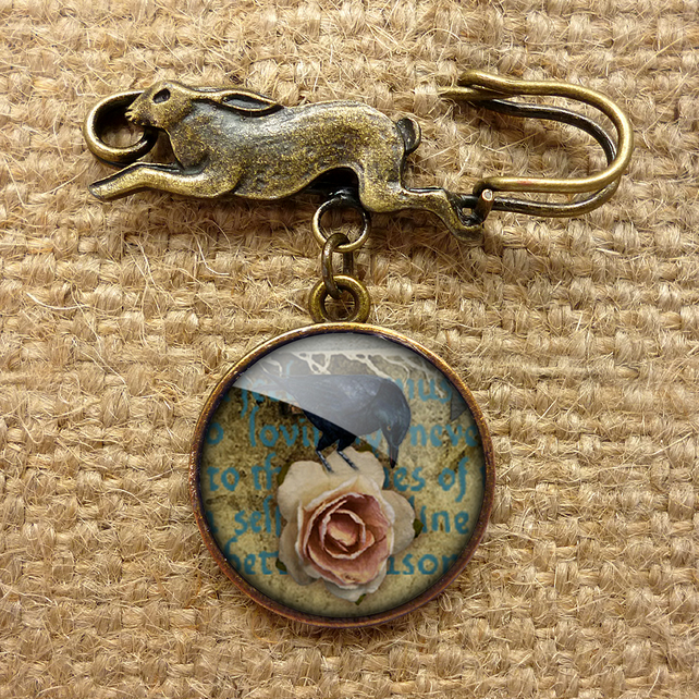 Raven and Pink Rose Hare Pin Brooch (RR05)