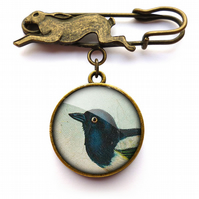 Magpie Hare Pin Brooch (TB08)