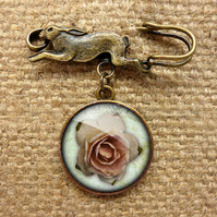 Pink Rose Hare Pin Brooch (RR08)