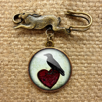 Raven and Red Heart No.2 Hare Pin Brooch (RR09)