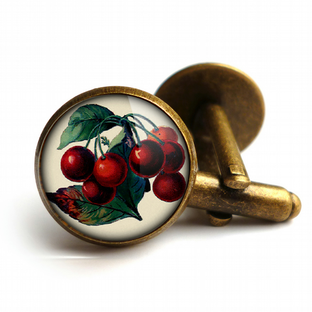Vintage Cherries Cufflinks (ER02)