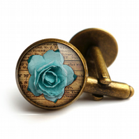 Blue Rose Cufflinks (RR02)