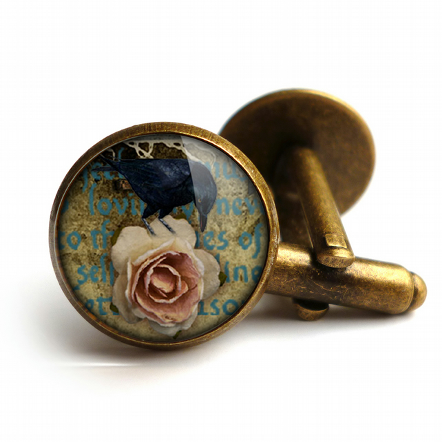 Raven and Pink Rose Cufflinks (RR05)