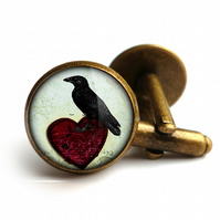 Raven and Red Heart No.2 Cufflinks (RR09)