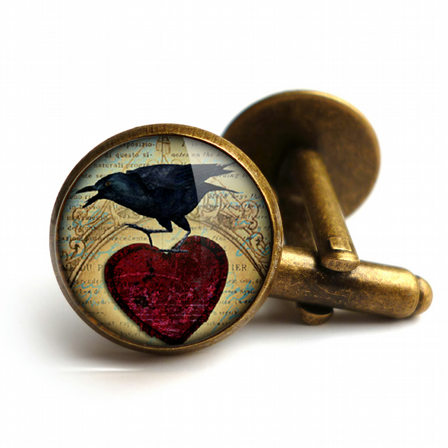 Raven and Red Heart No.1 Cufflinks (RR06)