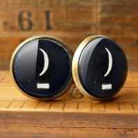 Crescent Moon Typewriter Key Cufflinks (DJ10)