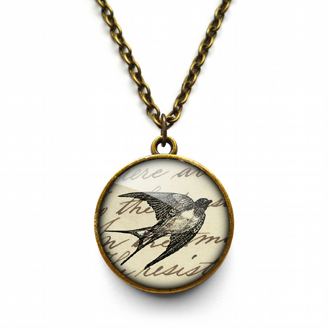 Vintage Swallow Necklace (ER05)