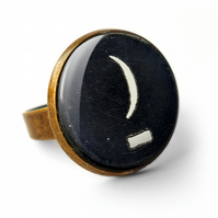 Crescent Moon Typewriter Key Ring (DJ10)
