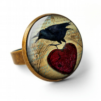Raven and Red Heart No.1 Ring (RR06)