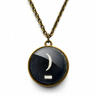 Crescent Moon Typewriter Key Necklace (DJ10)