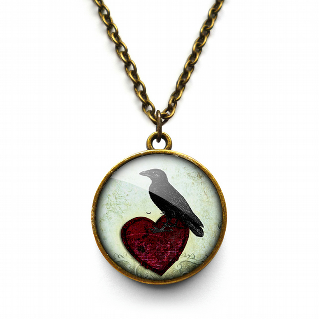 Raven and Red Heart No.2 Necklace (RR09)