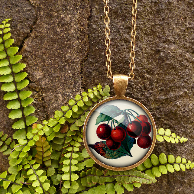 Vintage Cherries Large Necklace (ER02)