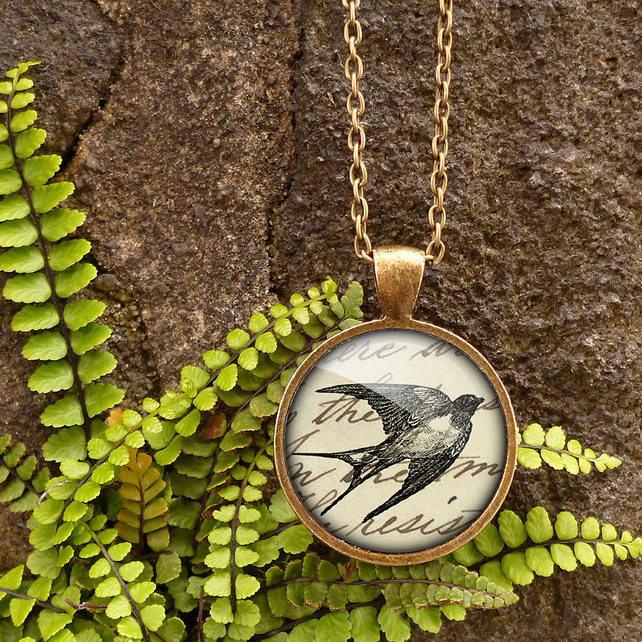 Vintage Swallow Large Necklace (ER05)