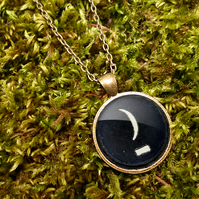 Crescent Moon Typewriter Key Large Necklace (DJ10)