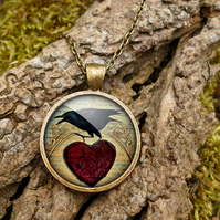 Raven and Red Heart No.1 Large Necklace (RR06)