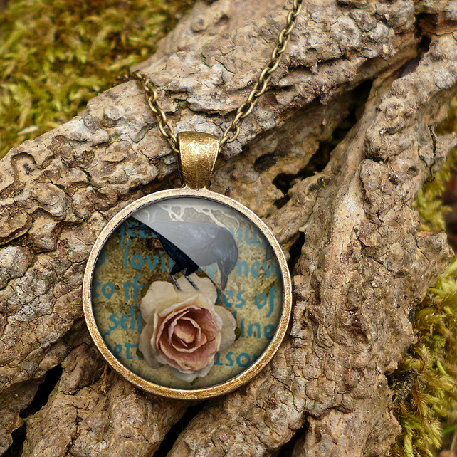Raven and Pink Rose Large Necklace (RR05)