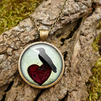 Raven and Red Heart No.2 Large Necklace (RR09)