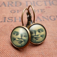 Vintage Moon Leverback Earrings (ER01)