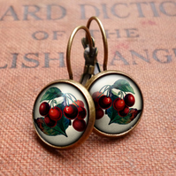 Vintage Cherries Leverback Earrings (ER02)