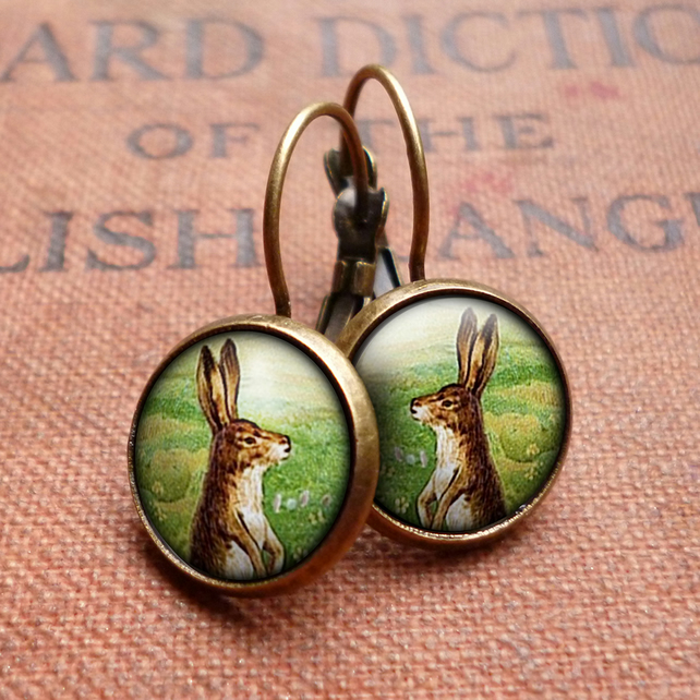 Vintage Hare Leverback Earrings (ER08)