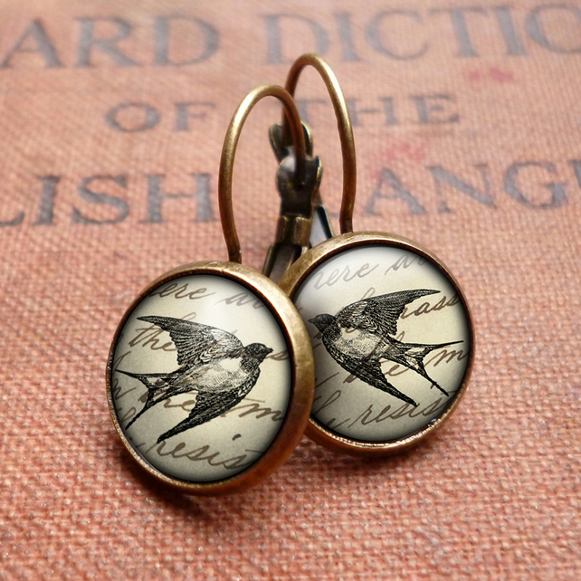 Vintage Swallow Leverback Earrings (ER05)