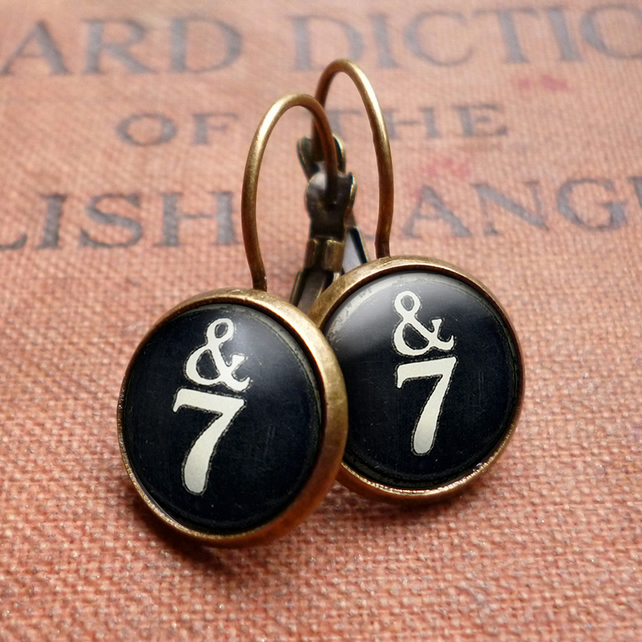 &7 Typewriter Key Leverback Earrings (DJ01)