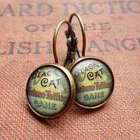 Black Cat Leverback Earrings (DJ05)