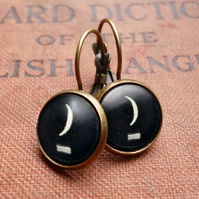 Crescent Moon Typewriter Key Leverback Earrings (DJ10)