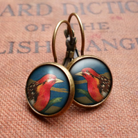 Crimson Bird Leverback Earrings (TB01)