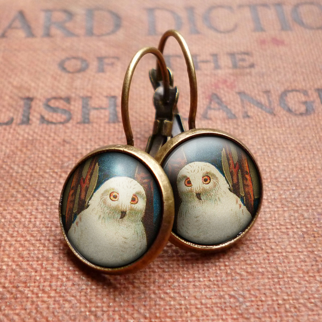 Snowy Owl Leverback Earrings (TB04)