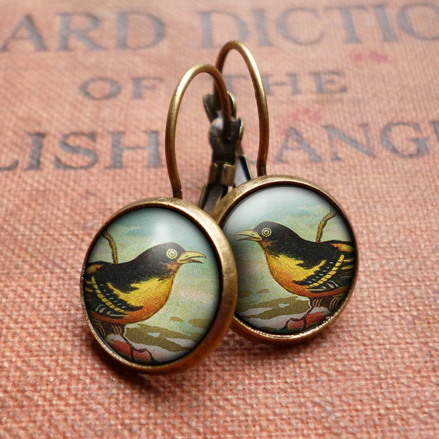 Affable Bird Leverback Earrings (TB03)