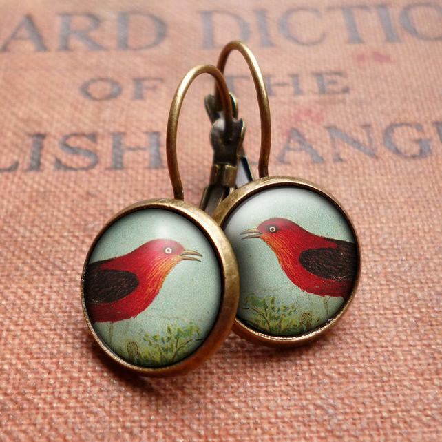 Red Bird Leverback Earrings (TB06)