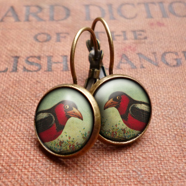 Disapproving Bird Leverback Earrings (TB09)